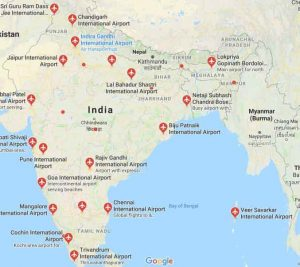 airports in india map