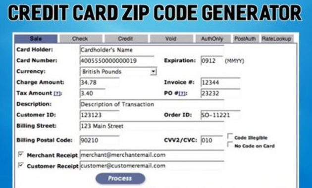 Credit Card Generator with Zip Code and Security Code 2019